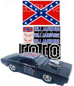 1:24 BLACK  GENERAL LEE WATER-SLIDE DECALS FOR model car SLO