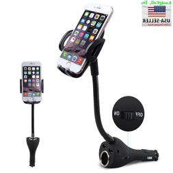 2 USB Car Charger Holder Mount With Cigarette Lighter Charge