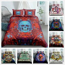 3D Colourful Skull Bedding Set Duvet Cover Set For Comforter