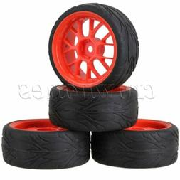 4Set Red Plastic Y Type Wheel Rims Fish Scale Rubber Tyre fo