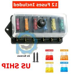 6-Way Auto Blade Fuse Holder Box Block with Waterproof for 1