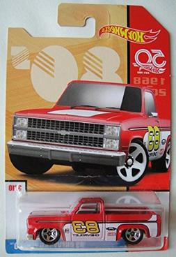 Hot Wheels 80s, RED '83 CHEVY SILVERADO 3/10 50TH ANNIVERSAR
