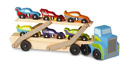 Melissa & Doug Mega Race-Car Carrier - Wooden Tractor and Tr
