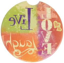 CounterArt Absorbent Stoneware Car Coaster, Live Laugh Love