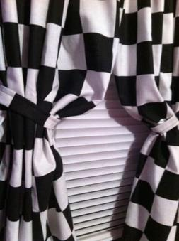 "Bedroom Boys Room Cars Checkered Flag Black and White 42""Wx6"