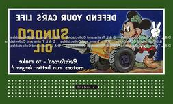 Billboard  for Lionel Holder Sunoco Gas Mickey Mouse Defend