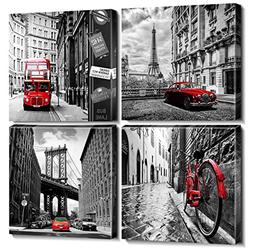 Wall Art City Canvas Prints Decor Homes Decorations Black an