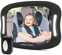 Baby Car Mirror with Remote Control Soft Led Light Shatter-P