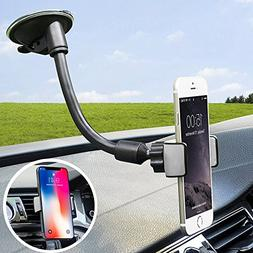 Car Phone Mount, X-AUTO 2-in-1 Universal Cell Phone Holder C