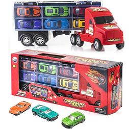 "15"" Carrier Truck Toy Car Transporter Includes 6 Metal Cars"