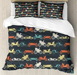 Ambesonne Cars Duvet Cover Set Queen Size, Vintage Cars in V