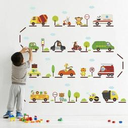 cartoon car highway wall stickers for kids