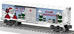 Lionel 684747 2018 Christmas Boxcar, O Gauge, Green, Red, Wh