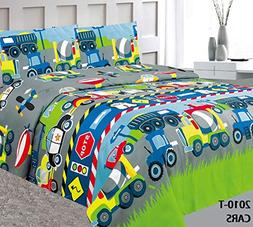 Elegant Home Multicolors Construction Vehicles Trucks Police
