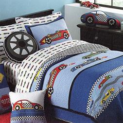 HNNSI Cotton Kids Quilt Bedspread Set Boys 2PCS Twin Size, S