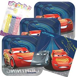 Lobyn Value Pack Disney Cars 3 Party Plates and Napkins Serv