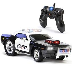 KidiRace Electric RC Remote Control Police Car Truck Kids Du