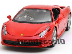 FERRARI 458 ITALIA RED 1:24 DIECAST MODEL CAR BY BBURAGO 260