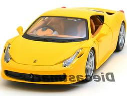 FERRARI 458 ITALIA YELLOW 1:24 DIECAST MODEL CAR BY BBURAGO