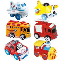Joyin Toy 6 Pieces Friction Powered Die-Cast City Traffic Ve