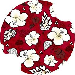 Thirstystone Hibiscus Car Cup Holder Coaster, Red/White, 2-P