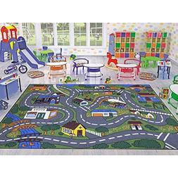 Ottomanson Jenny Collection Grey Base with Multi Colors Kids