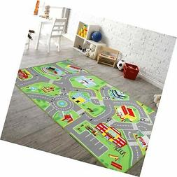 "79""X40"" Kids Rug Play mat for Toy Cars, Safe,Colorful and Fu"