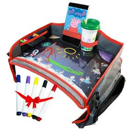 Kids Travel Tray for Car Seat Stroller, Fun Dry Erase Top, T
