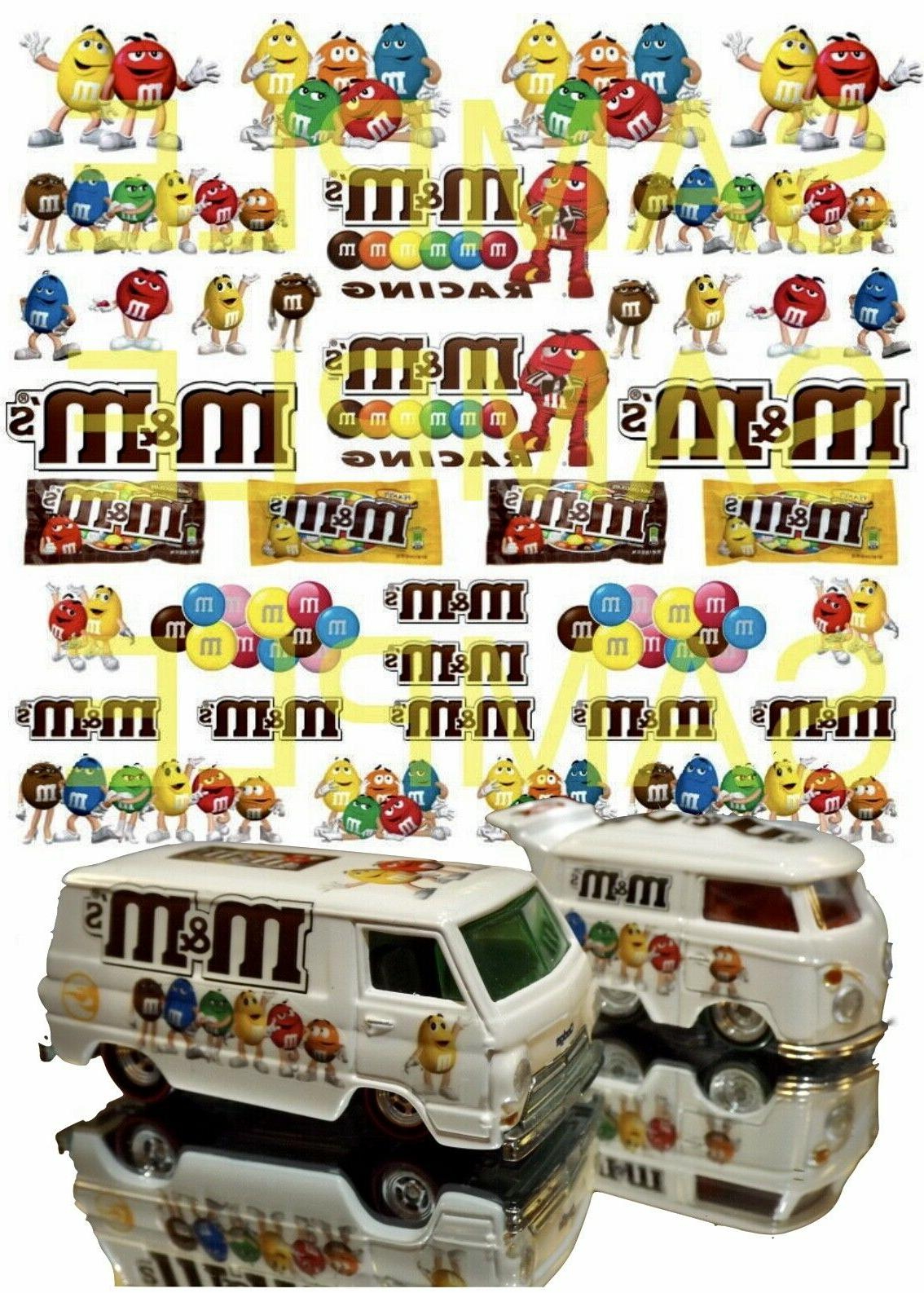 1:64 Candy  WATER-SLIDE DECALS FOR HOT WHEELS, MATCHBOX, SLO