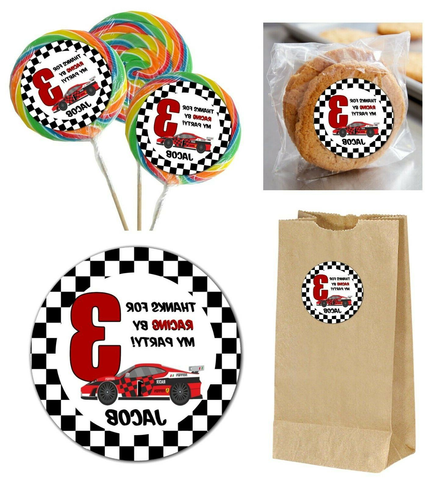 12 race car personalized stickers for lollipops