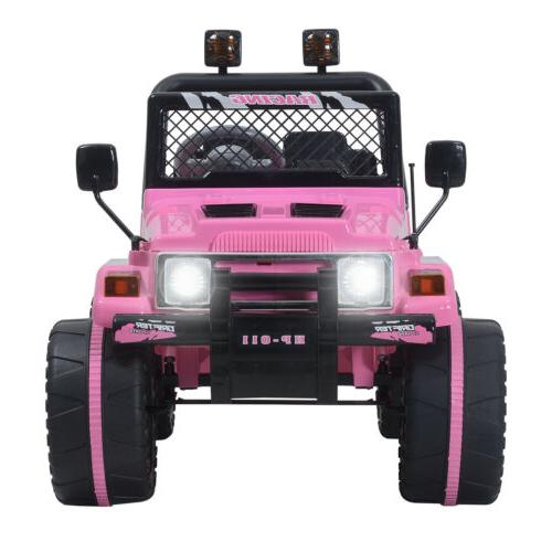 12V Jeep Electric Ride-On Car Children W/Parent Control Pink
