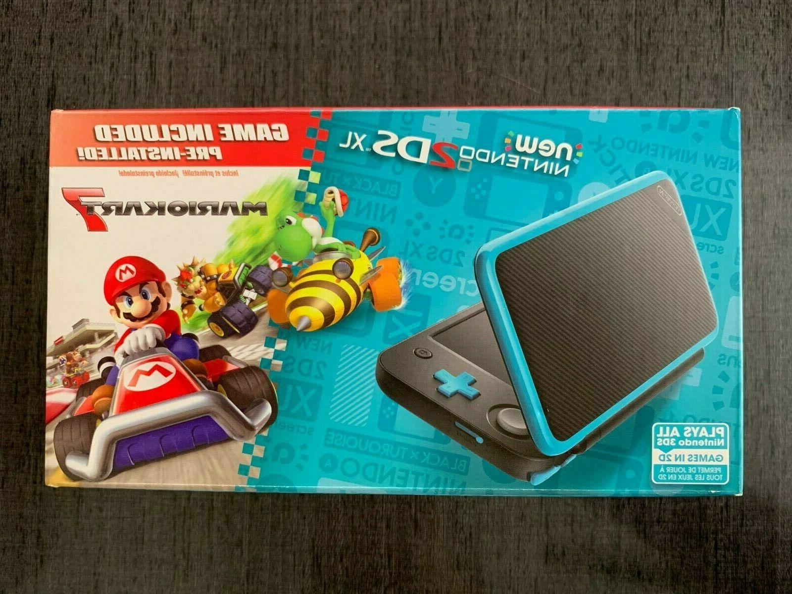 2ds xl black turquoise with mario kart