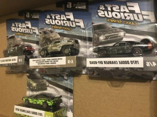 4 Mattel Fast and Furious Camo Series Cars '17 New/Factory