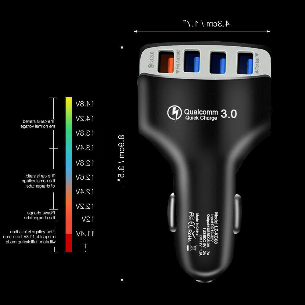 4-Port Car Charger Adapter QC 3.0 Fast Charging For Samsung LG HT