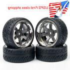 4pcs 1/10 On Road Rubber tires & Wheel rims 26mm Wide for HS