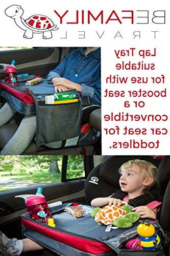 BE Family Travel Kids Car Seat Travel Lap Toddler Snack and Play - Messenger Bag - with Unique Fold-in Need Side
