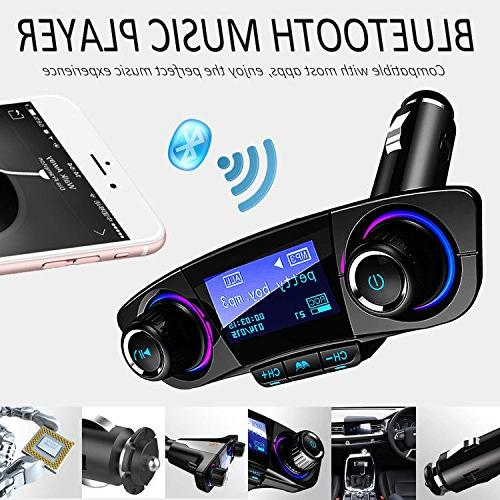 Bluetooth MP3 Player Car Kit Wireless Radio Adapter with Dual 5V 2.1A Port, U Disk, Card, Folder Playback, Output, Voice