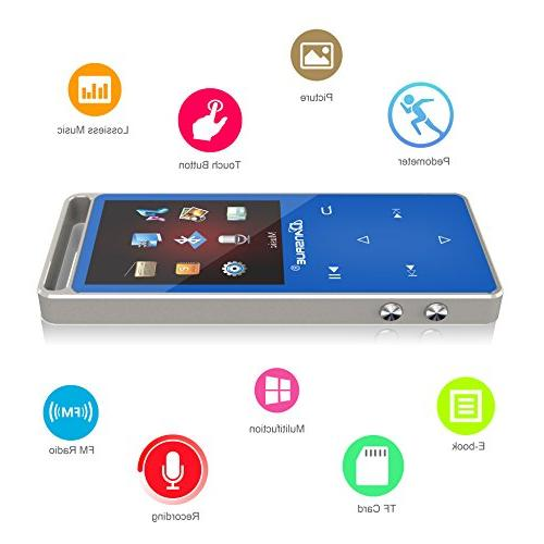 Bluetooth MP3 Player with Radio/ E-book 1.8 Inch Screen, Hours Playback Up
