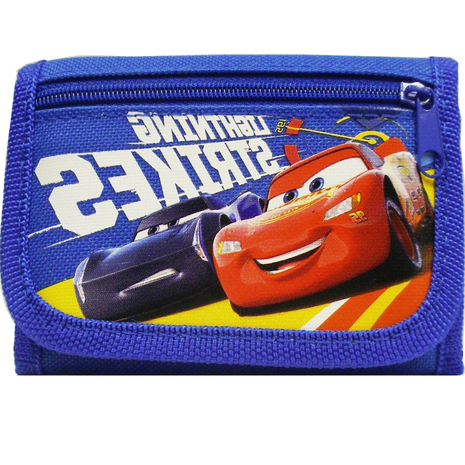 Disney Car Authentic Licensed Canvas Trifold Blue Wallet for