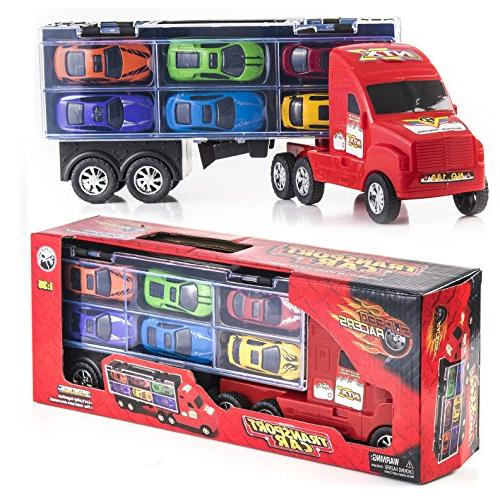 """15"""" Carrier Truck Car Transporter Includes Metal Cars Boys Great For"""