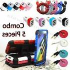 Combo 5 Pieces USB Cable, Audio Cable, Cover ,Car & Wall Cha