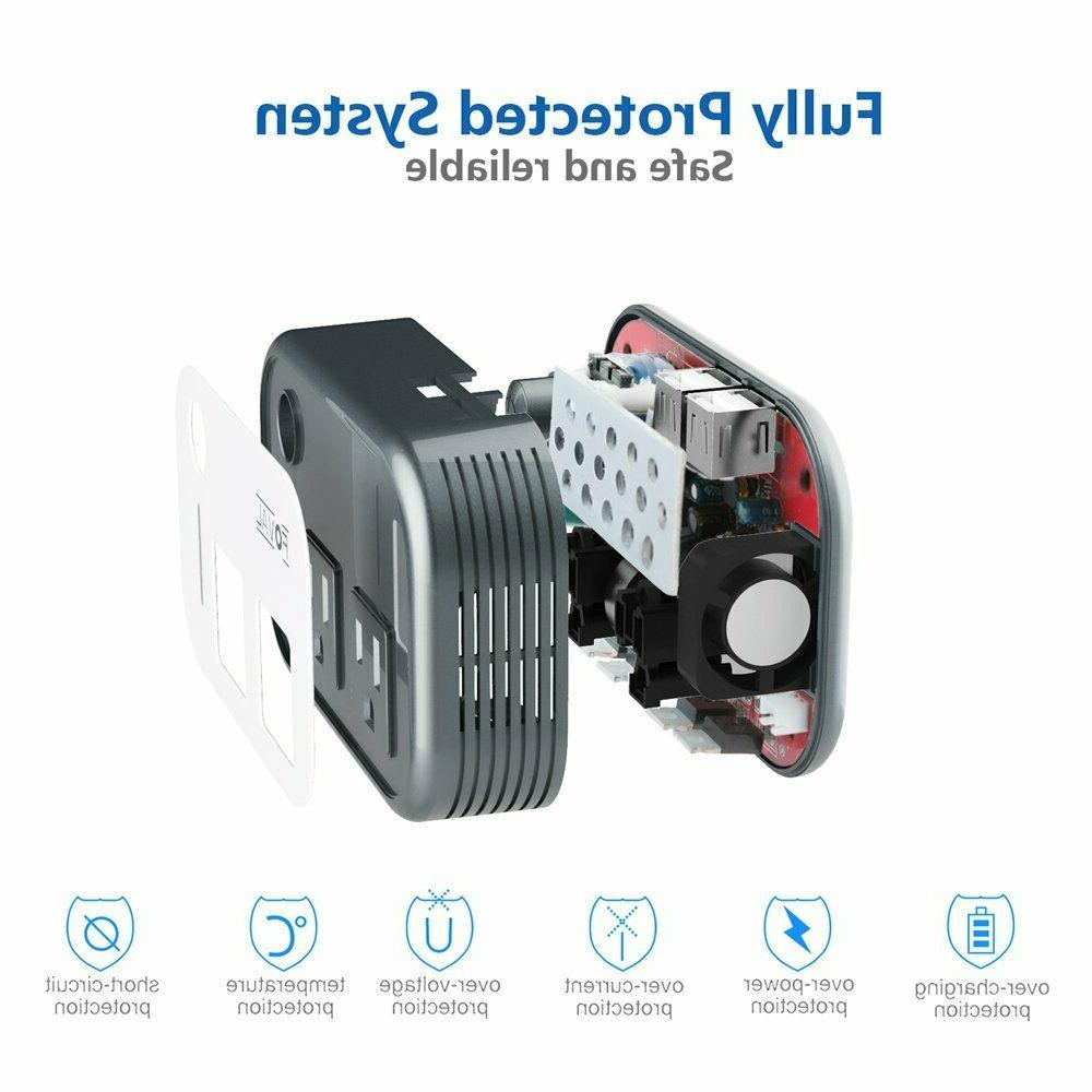 Foval 200W Car Inverter to110V AC Converter 4USB Ports