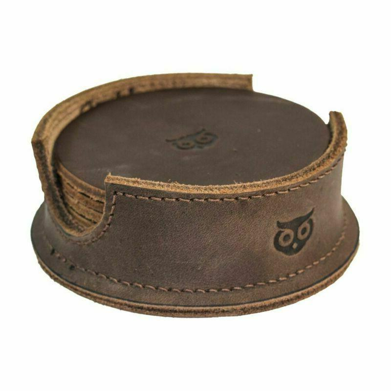 hide drink durable thick leather owl coasters