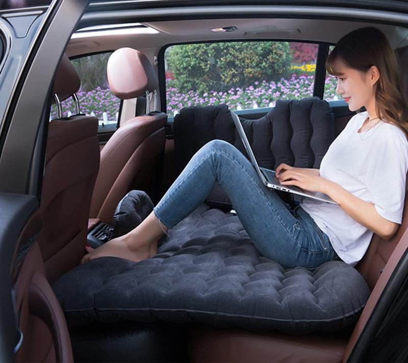Inflatable Black Car Bed Mattress with Seat Pillow Sleeping