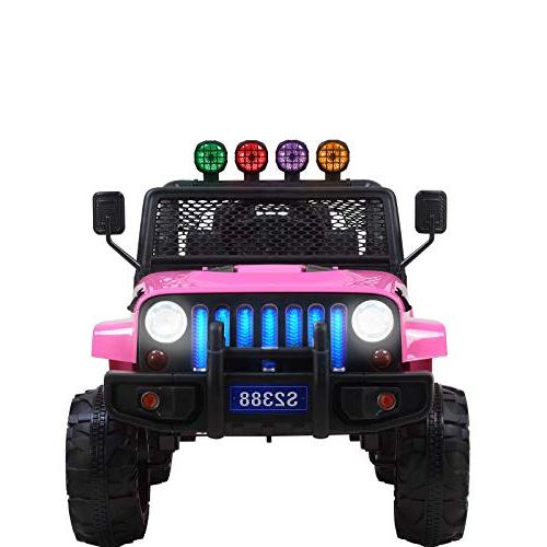 Uenjoy Jeep Electric Kids Ride On Cars 12V Battery Power Vehicles W/ Wheels Suspension, Remote Music& Colorful Lights, Sunshine Pink