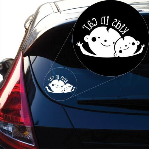 kids in car decal sticker for car