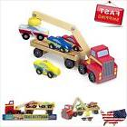 Melissa Doug Magnetic Car Loader Wooden Toy Set With 4 Cars
