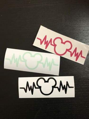 mickey heartbeat disney decal sticker for car