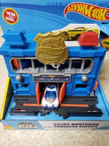 Hot Wheels Police Station W/ Car Vehicle Play Set Kids Boys