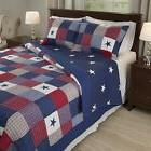 Full/Queen Size Americana Bedding Stars 2pc Quilt Set Red Wh